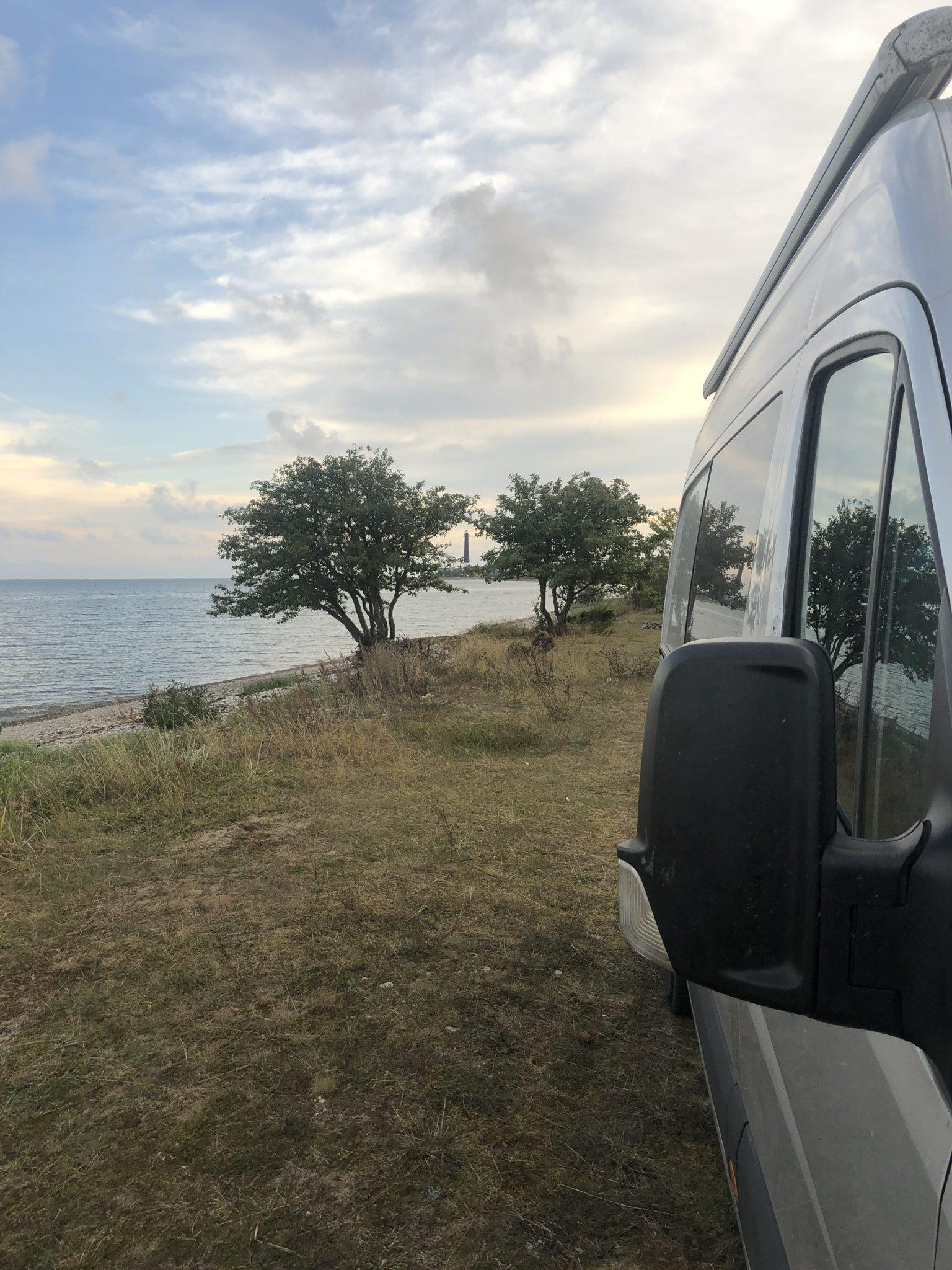 Ein Wohnmobilstellplatz direkt am Meer mit kleinen Bäumen auf Saarema in der Nähe von Saare