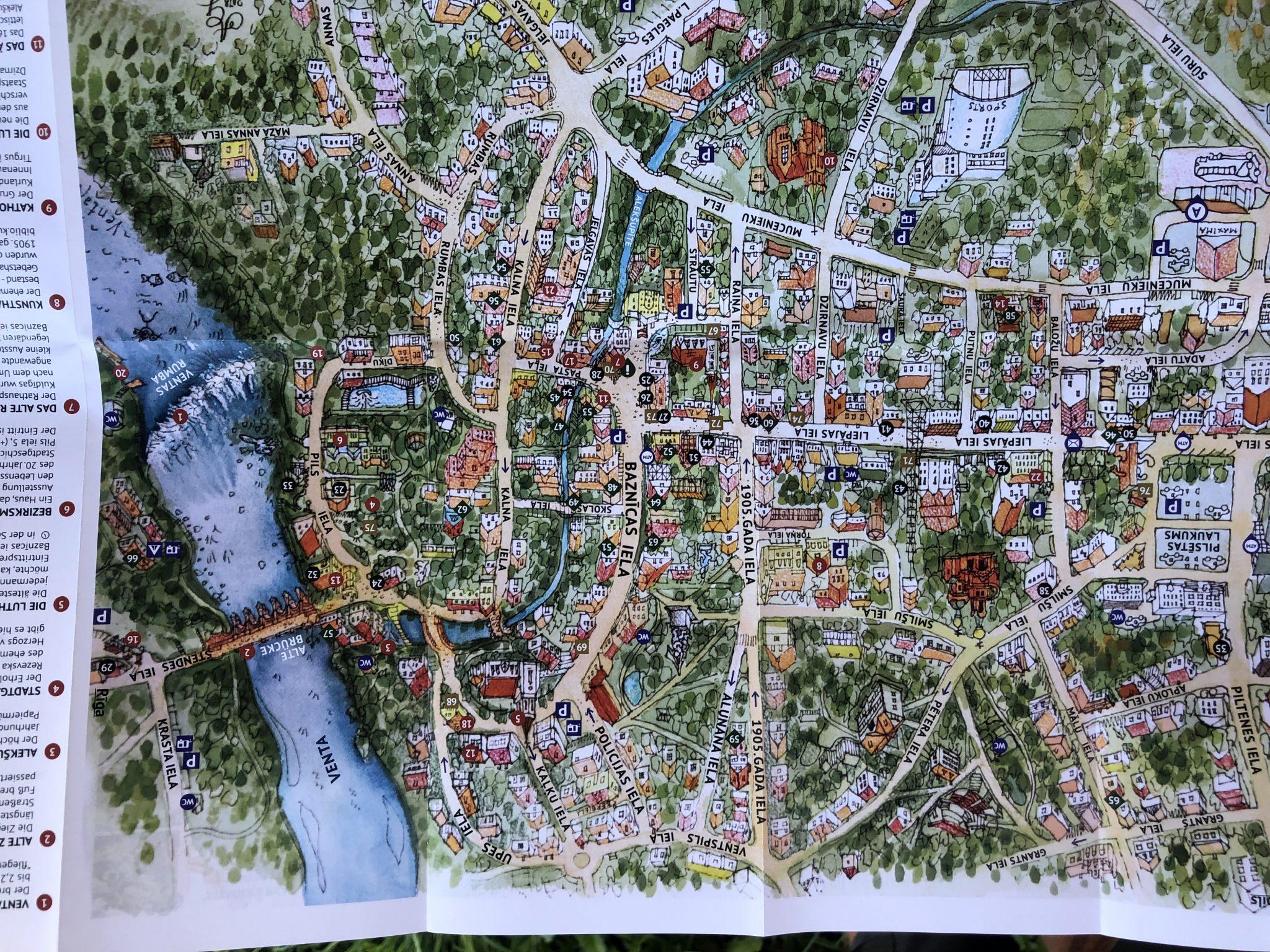Karte von der historischen Stadt Kuldīga