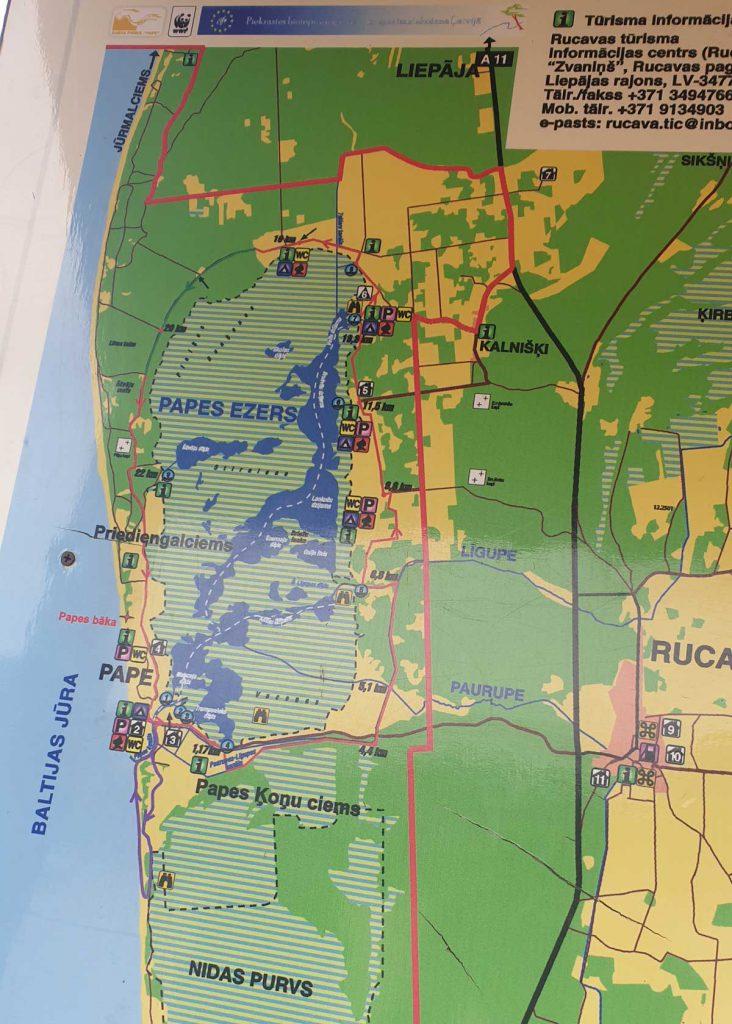 Karte vom Pape Nationalpark in Litauen an der kurischen Nehrung