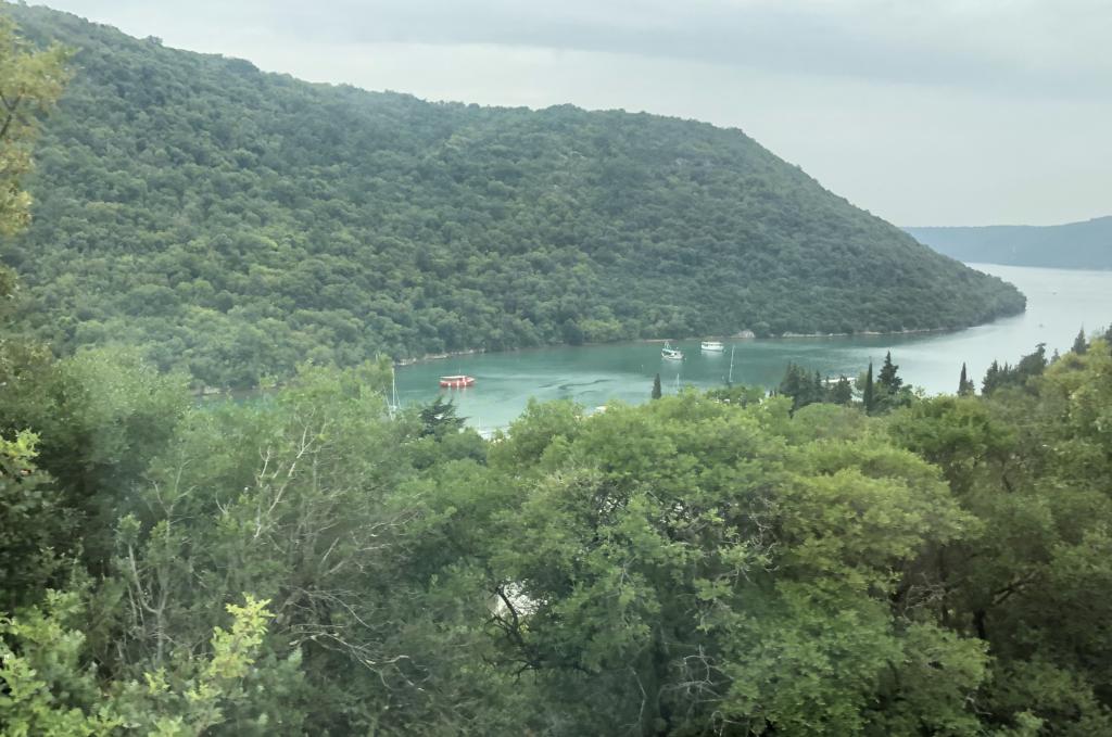 Blick vom Hügel aus auf die Bucht von Novigard